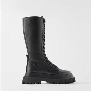 Zara Lug Sole leather combat boots